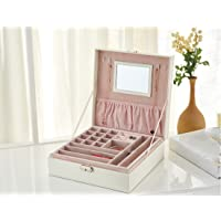 Two-Layer Lint Jewelry Box Makeup Mirror Organizer Display Storage Case with Lock