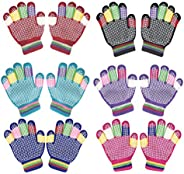 Kids Winter Warm Magic Gloves,6 Pairs Colorful Children Winter Full Finger Knitted Stretchy Anti-slip Winter G