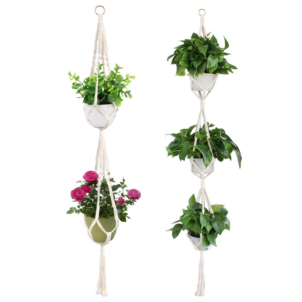 Yotako Macrame 3 Tire Plant Hanger and Macrame Double Planter Flower Pot Hanging Plant Holder for Outdoor Indoor Decoration 4 Legs 70 Inch 59 Inch