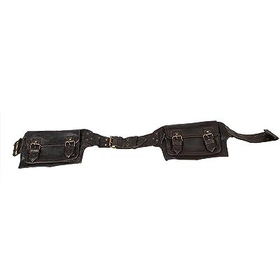 Leather Fanny Pack Travel Pouch Black Mens Boys Vintage Messenger Belt Sling School Belt Adjustable strap Messenger Belt hot sale