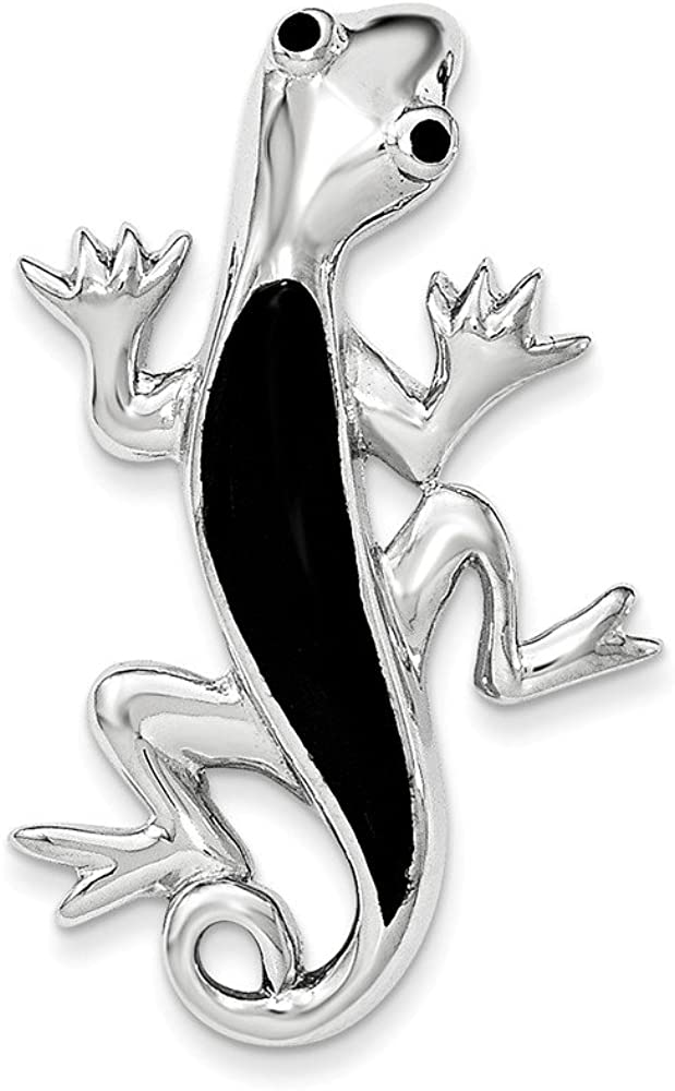 Beautiful Sterling Silver Polished Enameled Gecko Chain Slide Pendant