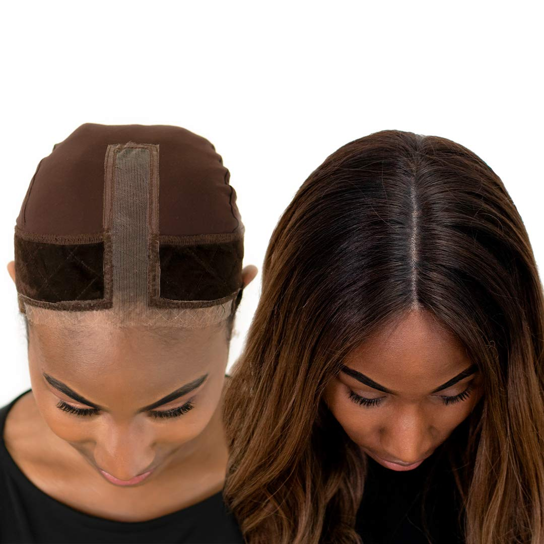 Milano Collection Lace GripCap- 2-in-1 Lace Wig Grip Band Plus Wig Cap for Lace Wigs and Frontals with Reinforced Swiss Lace (Patent Pending) (Chocolate Brown) by MILANO COLLECTION