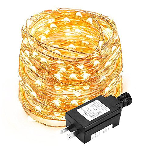 - LE Copper Wire String Light, Waterproof, 100 LED, 33ft Decorative Indoor Outdoor Fairy Light for Christmas, Party, Wedding, Patio, Bedroom and More, UL Power Adaptor Included, Warm White.