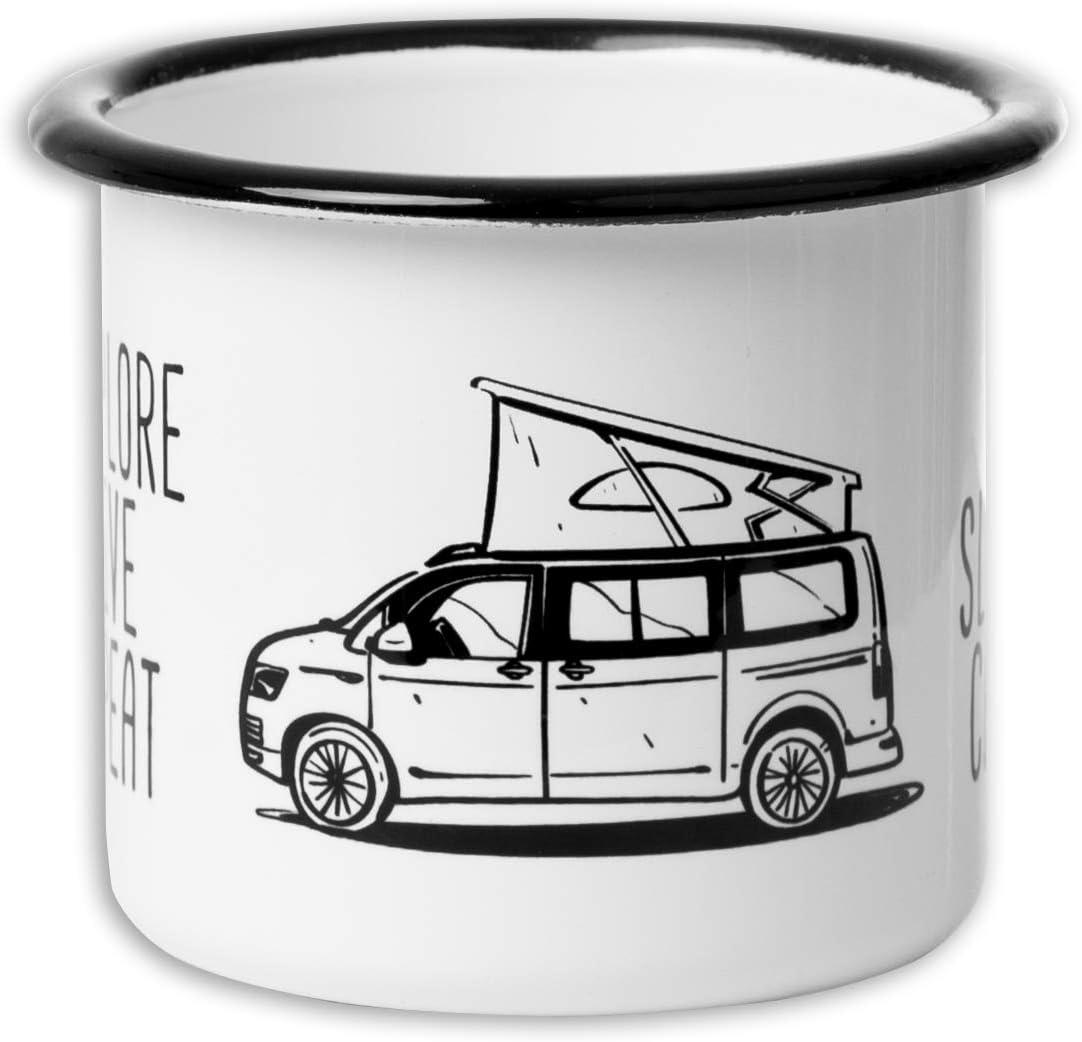 la Vanlife et Les activit/és ext/érieures Tasse en /émail de Haute qualit/é avec Motif VW Bulli T5 T6 MUGSY.de Eat Sleep Camp Explore Drive Repeat L/éger et incassable pour Le Camping