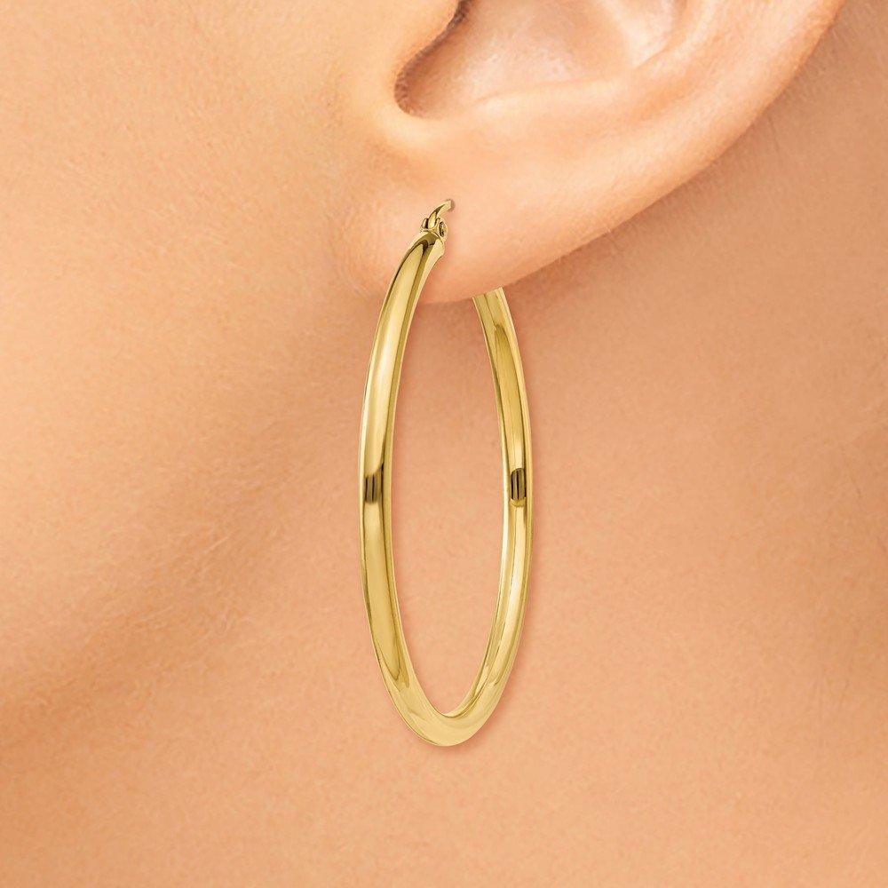Mia Diamonds 14k Yellow Gold Polished 2.5mm Lightweight Round Hoop Earrings