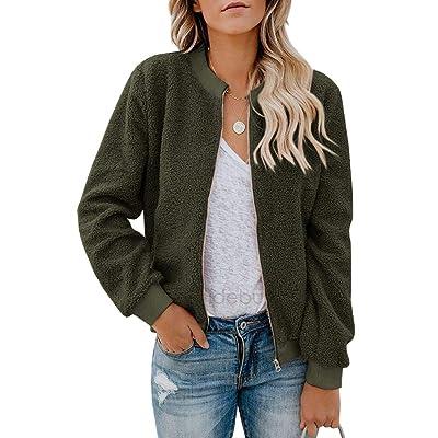 Eurivicy Women Fleece Jacket Winter Bomber Long Sleeve Faux Sherpa Fuzzy Casual Zip Up Coat Pocket at Women's Coats Shop