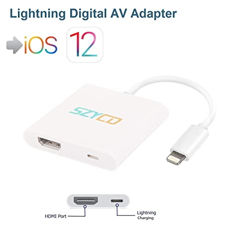 Lightning Digital AV Adapter, SZYCD iPhone iPad to HDMI Adapter with  Lightning Charging Port for HD TV Monitor Projector 1080P Support iOS  9/10/11/12