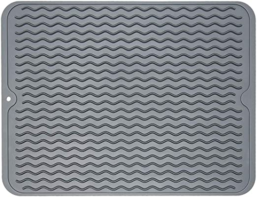 ZLR Silicone Dish Drying Mat Easy Clean Dishwasher Safe Heat Resistant Eco-Friendly Trivet Grey Large 15.8 inches X 12 inches