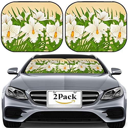 MSD Car Sun Shade for Windshield Universal Fit 2 Pack Sunshade, Block Sun Glare, UV and Heat, Protect Car Interior, Background with Beautiful Orchids Photo 9572957