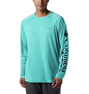 Columbia Standard Mens Terminal Tackle Heather Long Sleeve Sun Shirt Moisture Wicking Cool Grey Thyme Green Logo Small