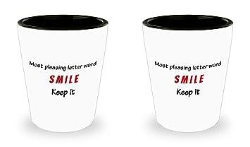 Amazon Inspirational Quotes Shot Glass Set 15oz White Ceramic
