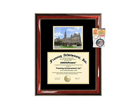 67886c7a5b22e Georgetown University Diploma Frame - Georgetown Graduation Degree Frame -  Matted Campus College Photo Graduation Certificate