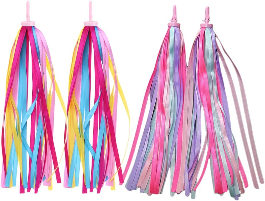 BESPORTBLE 2 Pairs Kids Bicycle Tassel Ribbon Children Scooter Handlebar Streamers Bicycle Grips Ribbon Bike Accessories for Kids