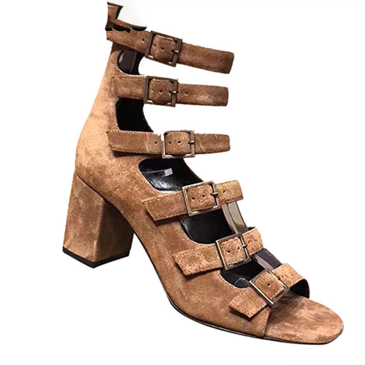 Strappy Strap Up Vintage Sandals Heels Women Roman Suede High Thick Pumps Summer Shoes,Black,40