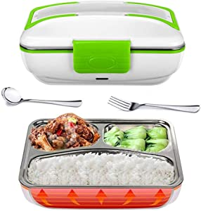Electric Lunch Box Food Heater Portable Lunch Heater with Removable Container Food Grade Meal Warmer Lunch Box for Home Office Travel Use (110V US Plug, Green)