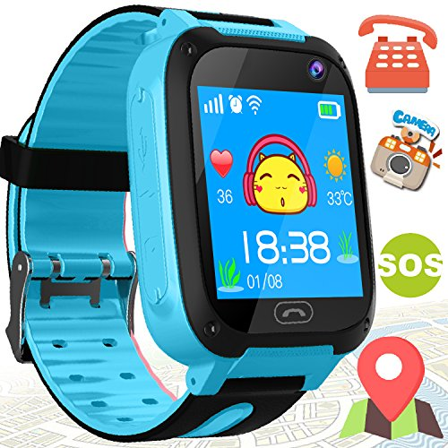 Kids Smart Watch with GPS Tracker - Kidaily Phone Smart Watch for 3-14 Years Boys Girls with SOS Anti-lost Camera Game SIM Card Slot Touch Screen Digital Wrist Outdoor Sport Bracelet Watch Prime Gift