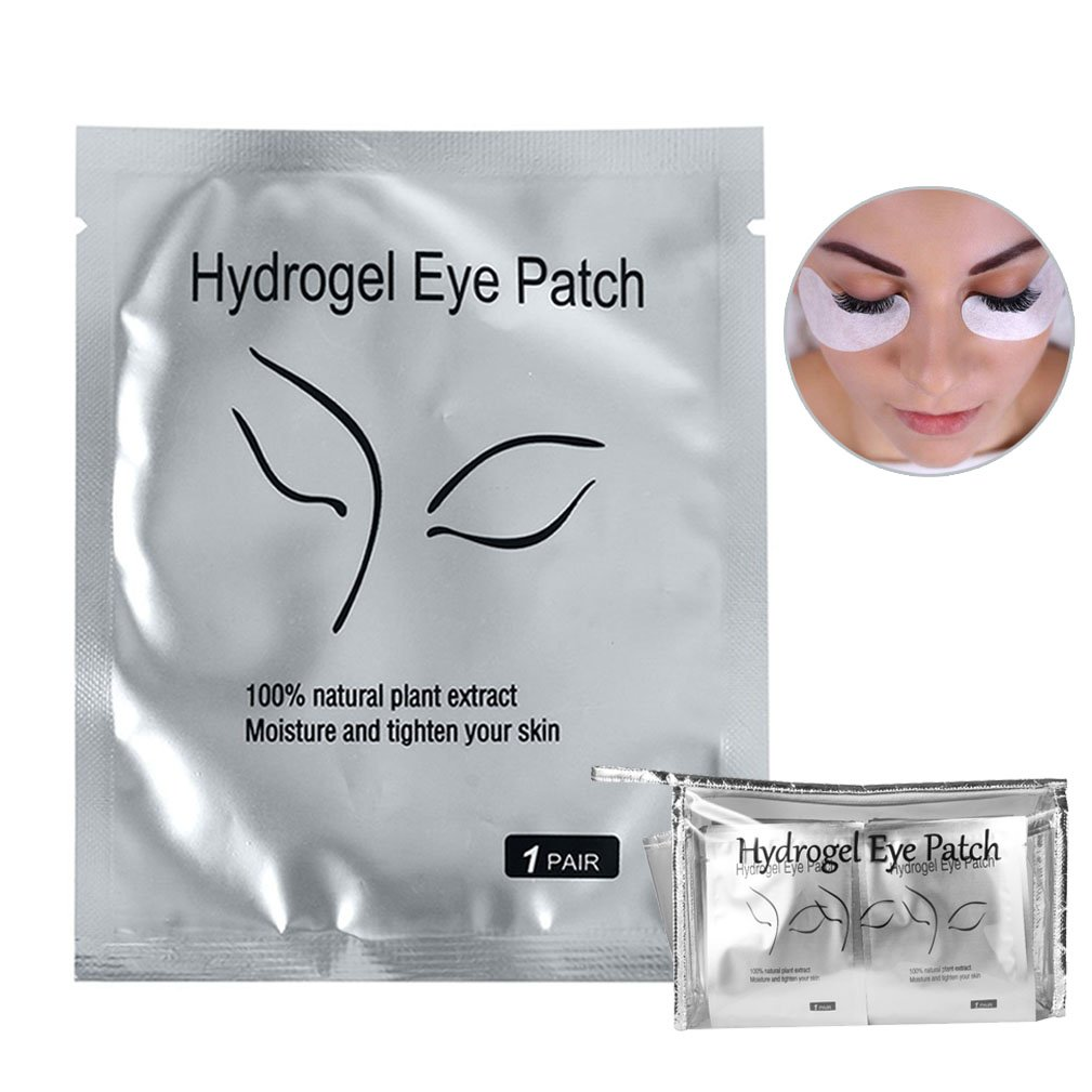 110 Pairs Eyelash Extension Gel Patches Kit, Lash Extension Lint Free Under Hydrogel Eye Mask Pads Beauty Tool with Transparent Cosmetic Bag Qleng