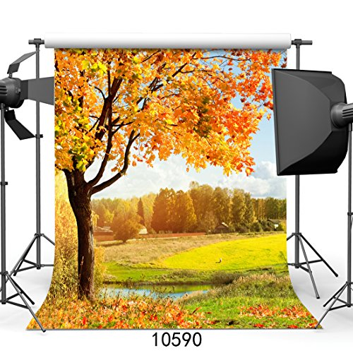 SJOLOON Autumn Scenery 8x8ft Vinyl Photography Backdrop Tree and Fall Leaves Photo Background Studio Props - Photo Fall Leaves