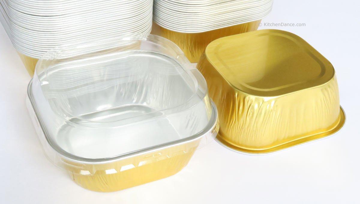 KitchenDance Disposable Aluminum 4'' x 4'' Square 8 ounce Dessert Pans W/Lids - #ALU6P (GOLD, 50)