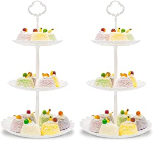Imillet Cupcake Stand/Holder Plastic Dessert Stand White Cake Stand 3 Tiered Serving Stand Display Stand Reusable Pastry Platter for Wedding Birthday Baby Shower Tea Party Decorations (2 Pack Small)