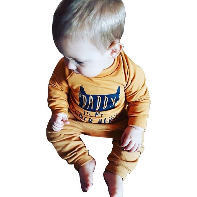 Ropa Bebe Reci/én Nacido ❤️ Modaworld Oto/ño reci/én Nacido beb/é ni/ño ni/ña Camiseta Tops Camisas ni/ños Pants Pantalones 2 Pcs Conjunto de Ropa