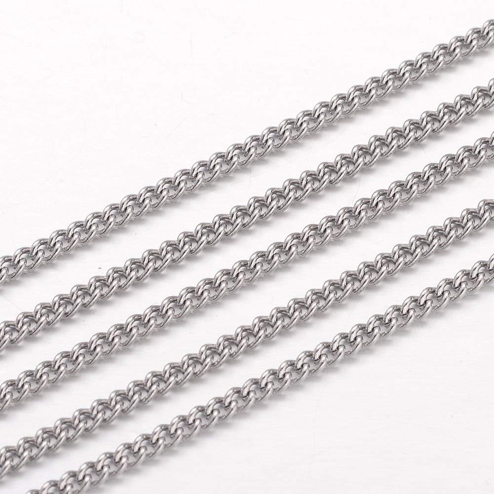 acciaio inox colore-3 x 2 x 0,6 mm Catena rol/ò a catena per collana 22 m DanLingJewelry 3 mm per la creazione di gioielli