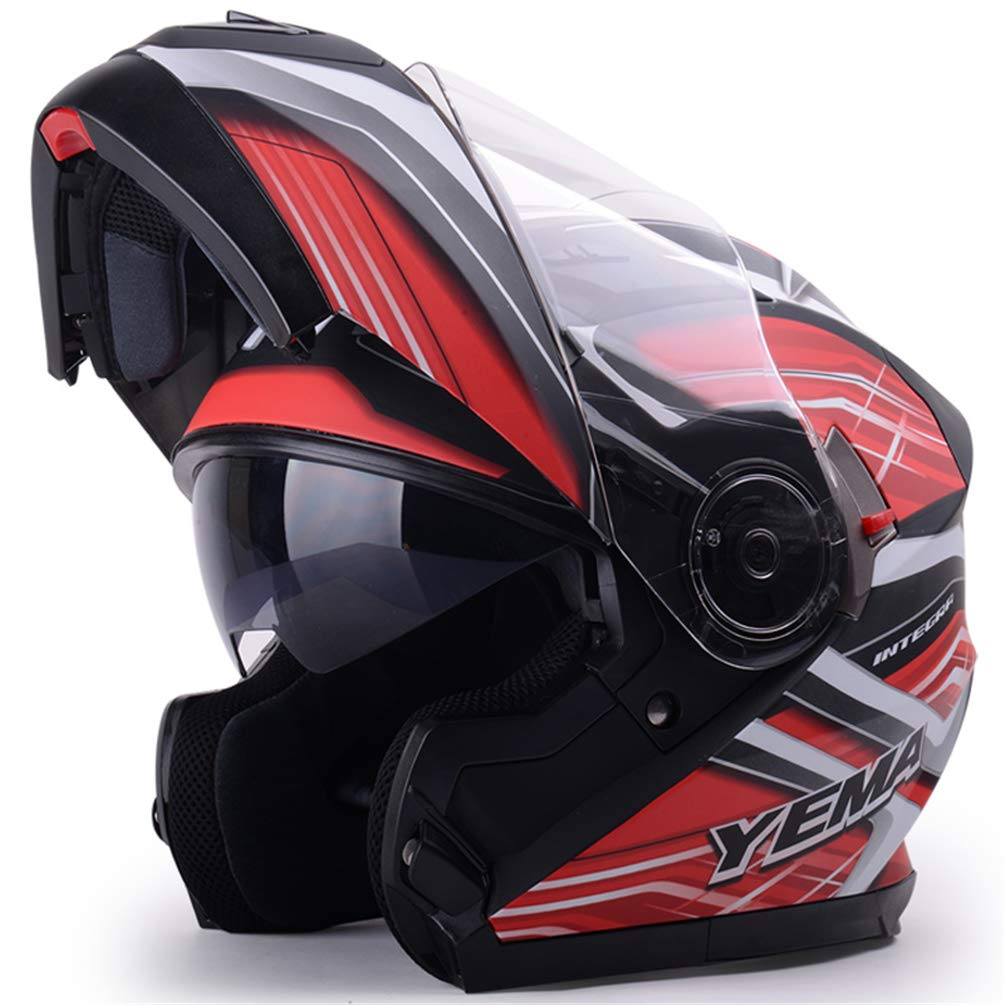 Off-Road Lente Doble Moto Cascos de Motocicleta Hombres Mujeres Cara Completa Flip Up Casco de Moto Motocross Gorras Protectoras para Todas Las Estaciones