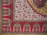 India Arts Floral Peacock Cotton Tablecloth 88'' x 60'' Red