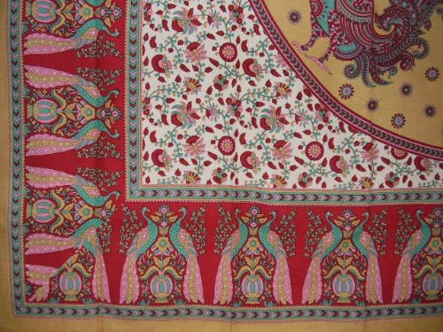 (India Arts Floral Peacock Cotton Tablecloth 88