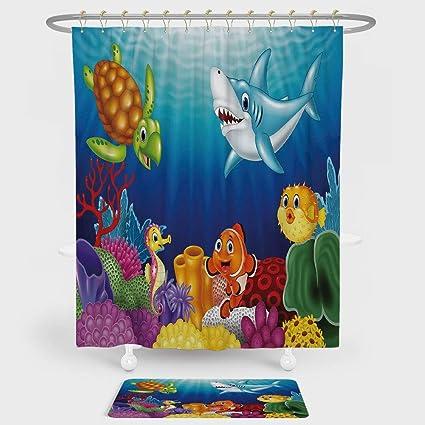 IPrint Aquarium Shower Curtain And Floor Mat Combination Set Cartoon Tropical Fish Happy Underwater World