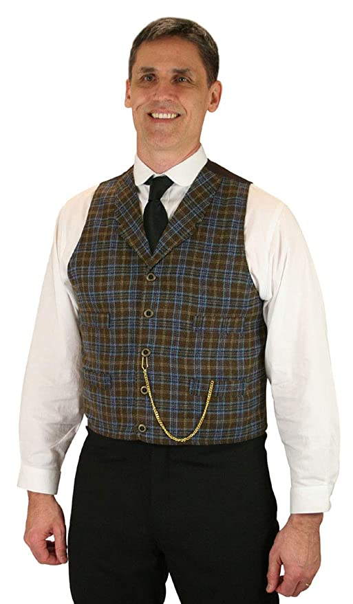 Victorian Men's Clothing, Fashion – 1840 to 1900 Historical Emporium Wool Blend Haskell Plaid Vest $72.95 AT vintagedancer.com