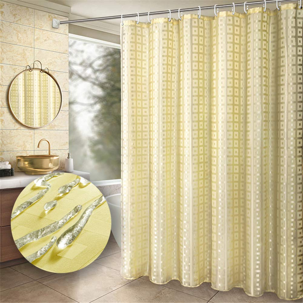 Yuclock Polyester Shower Curtain Waterproof and Moisture-Proof Padded Blackout Warm Partition Curtain, Back Grid, 240 X 200cm, Include Hook