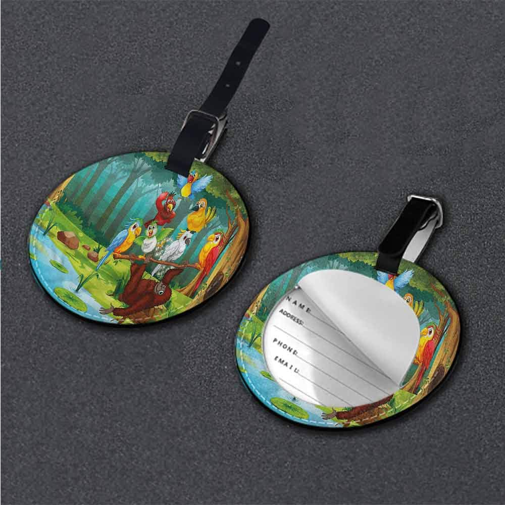 Boarding Tags Forest,Colorful Woodland Oak Willow Round Luggage Tags