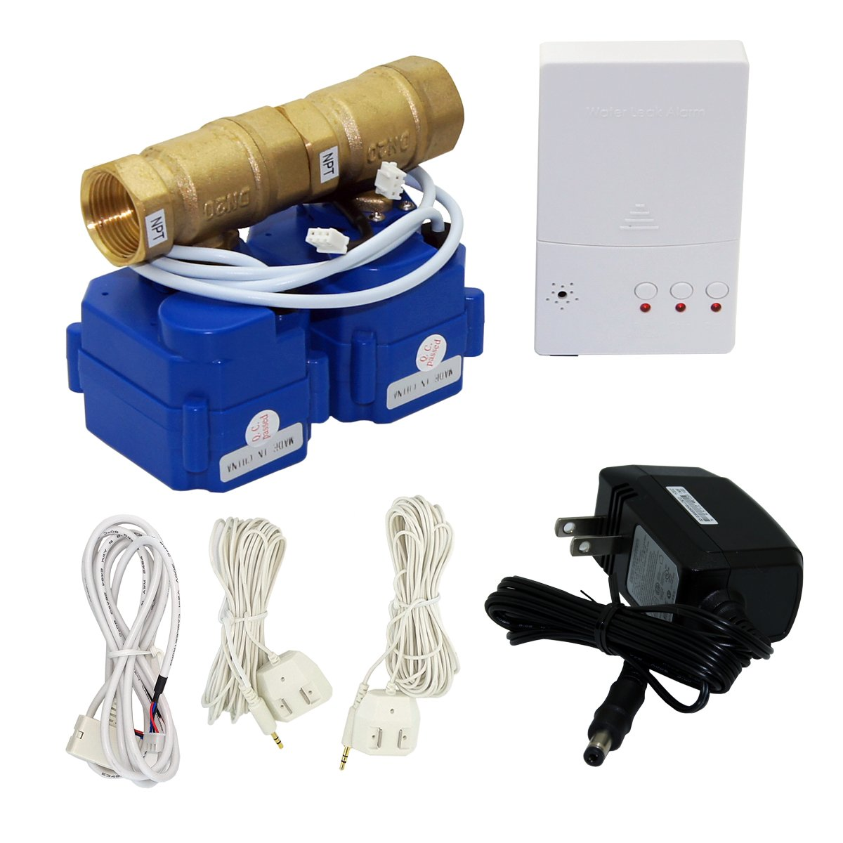 E-SDS Automatic Water Leak Shut Off Valve System,Water Leak Detector with 2 Valves,2 Sensors and Sounds Alarm,for Pipes 3/4 NPT,Flood Prevention for Laundry Washing Machines,Water Heaters and More by E-sds