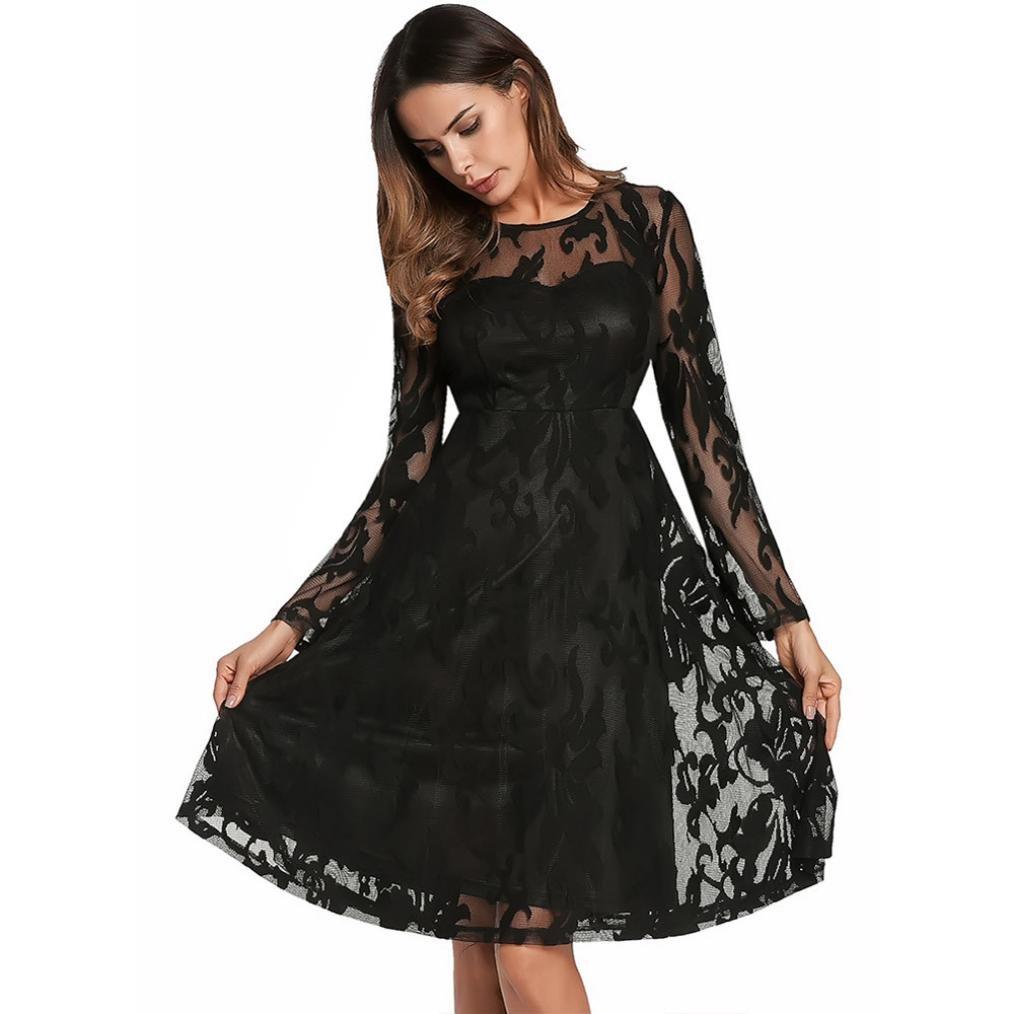 Vestido de boda de la dama de honor del partido de tarde del baile de fin de curso de la bola floral del cordón de la manga larga de las mujeres Elegantes ...