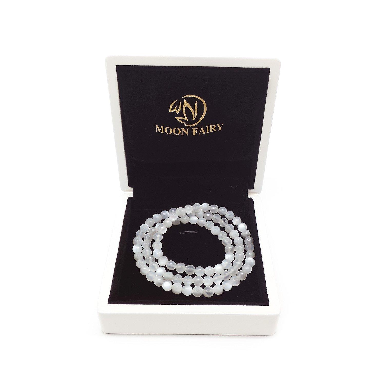 MOON FAIRY (Ondine) 6mm Layered Precious Natural Sri Lankan White Moonstone Elastic Beaded Bracelet
