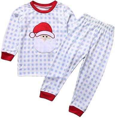 Navidad POLP Pijama Bebe Niño Nina A Rayas y Cuadros Conjunto ...