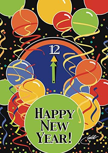 Toland Home Garden Stroke of Midnight 12.5 x 18 Inch Decorative Winter New Years Eve Happy New Year Garden Flag -