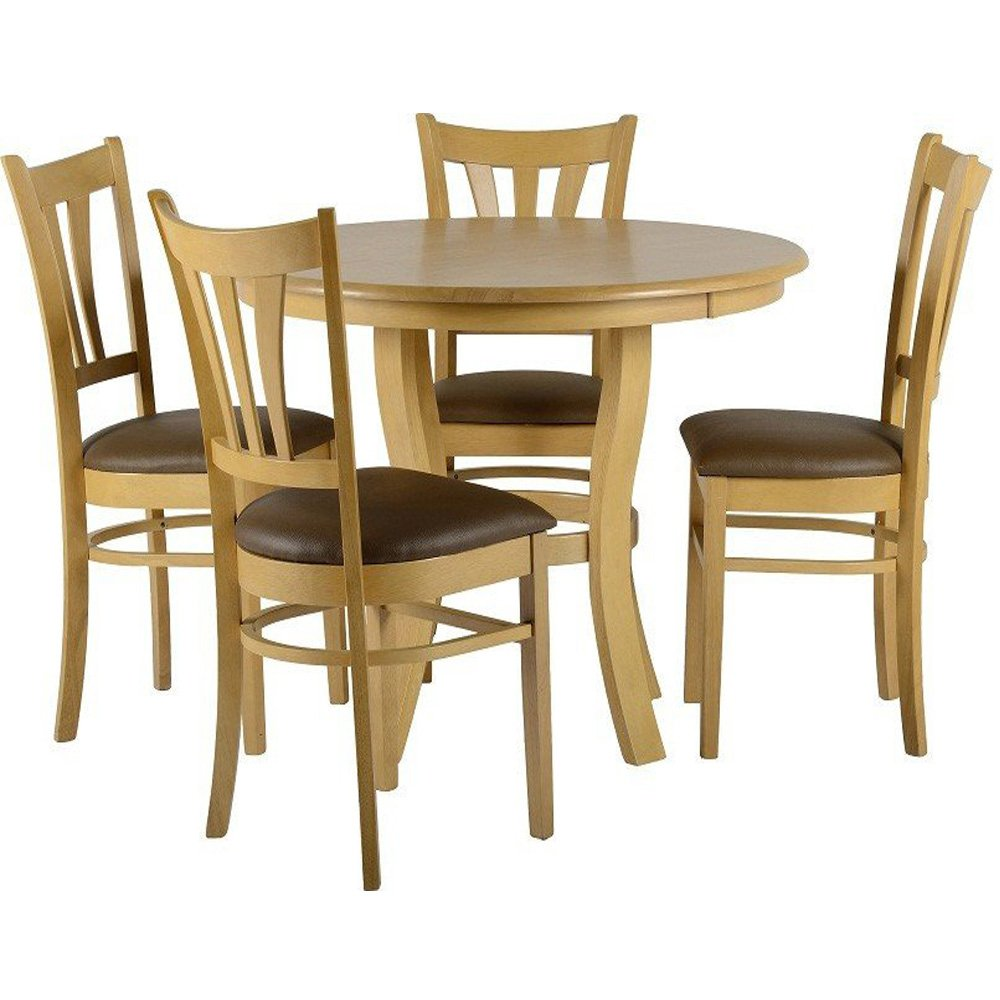 Grosvenor Dining Set D 100cm Round Table 4 Dining Chairs Natural Oak Finish By Premiere Amazon Co Uk Kitchen Home