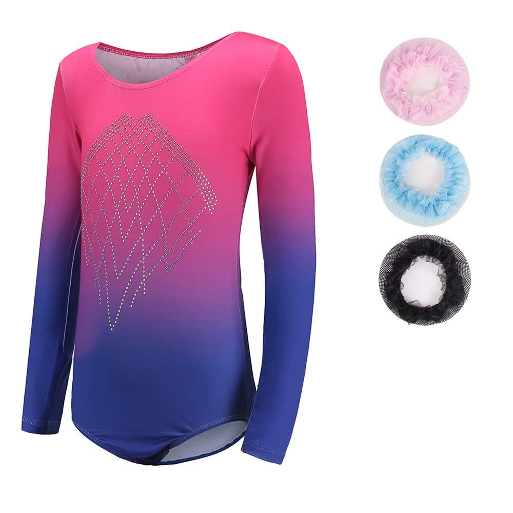 Sinoeem Leotards for Girls Gymnastics Long Sleeve Dancing Ballet Gymnastics Leotard for Girls 7-8 Years Gradient Blue+Rose Color Diamond Sparkle Design by Sinoeem