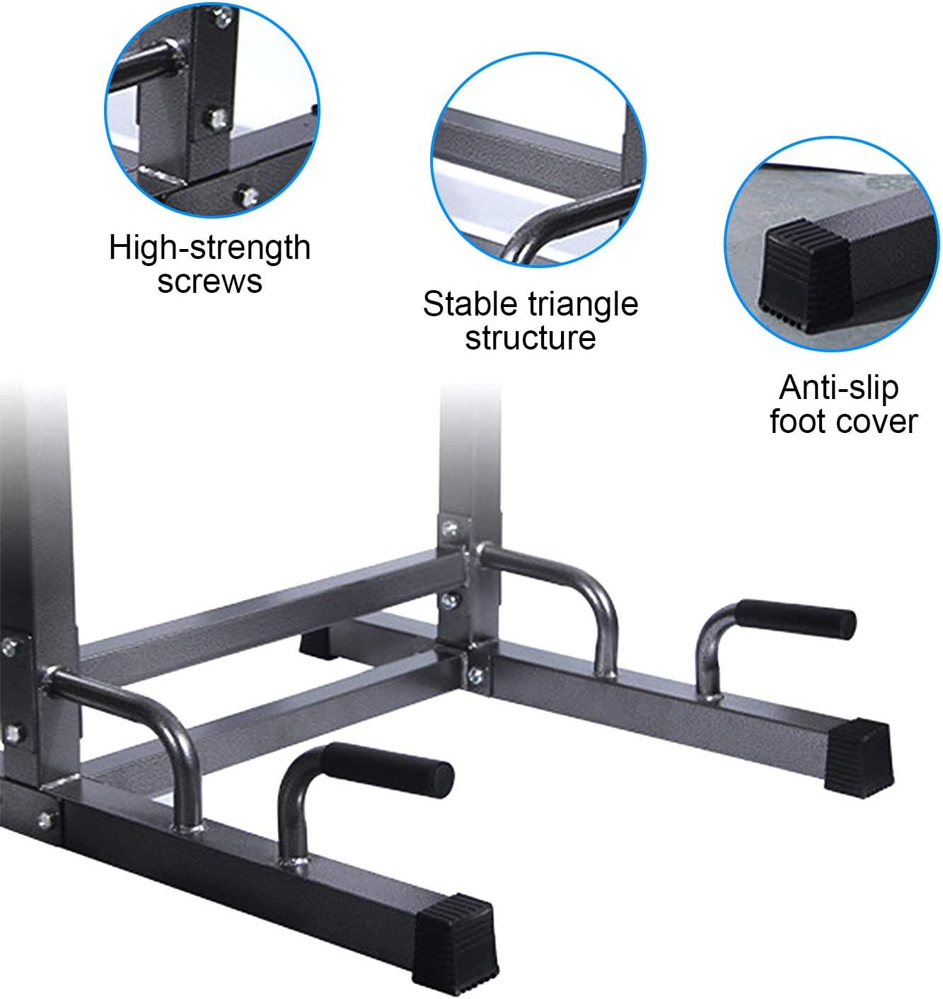 Power Tower Dip Station Pull Up Bar for Home Gym 9 Levels Adjustable Height with Barbell Rack and Hanging Ab Straps Strength Training Workout Equipment