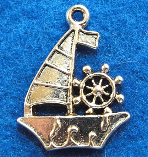 10Pcs. Tibetan Silver Sailboat Ship Boat Charms Pendants Earring Drops Charms DIY Crafting by WCS