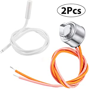 2 Pieces WR55X10025 Refrigerator Temperature Sensor Replace 914093, AP3185407, WR50X10068 Defrost Thermostat Replace 1170024 AP3884317 PS1017716 Compatible with GE Refrigerators