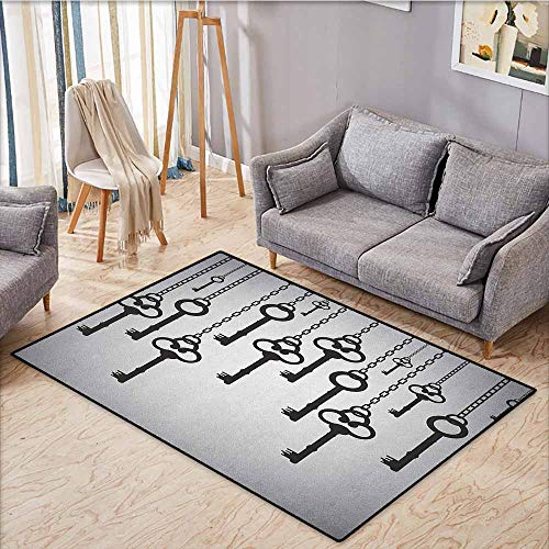 Large Door mat,Antique,Silhouettes of Old Keys Hanging Chain Links Unlocking Security Home Opener,Ideal Gift for Children,5'3