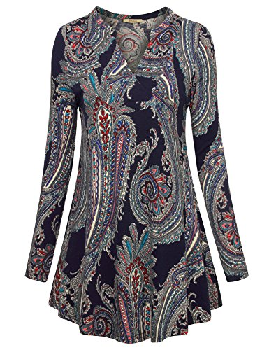 Bebonnie Tunic Tops For Leggings For Women, Women's Long Sleeve Casual Printed Tunics Ladies A-Line Flowy Swing Tunic Shirt Blouse (Large, Multicolor Blue)