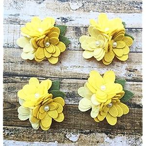 4 Mum Wool Felt Flower Trios Wool Felt Flowers - Set of 4 trios 4