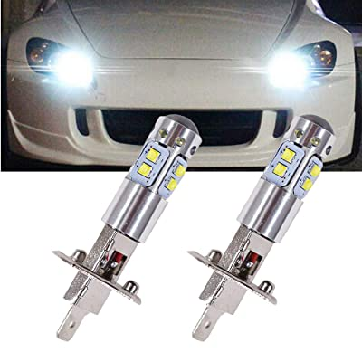 GTP Extremely Bright H1 LED Fog Light Bulbs 100W High Power 6000K Xenon White DRL Daytime Running Light or Fog Driving Lights: Automotive
