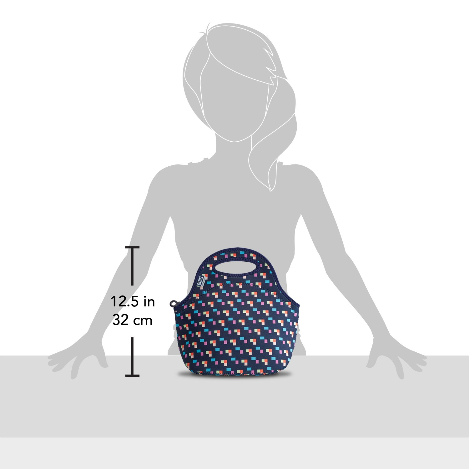 Lightweight BUILT 5158474 Gourmet Getaway Soft Neoprene Lunch Tote Bag Bright Flower 1 EA Insulated and Reusable
