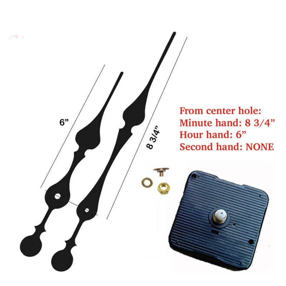 (#01) Quartz Clock Movement kit 1/4'' Threaded high Torque Motor & Long 9'' Hand