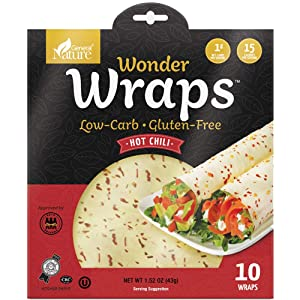 Wonder Wraps -Hot Chili- Low Carb Keto Tortillas | Non-GMO Kosher Low Calorie Burrito Wraps | Perfect for Weight Loss | Delicious Gluten Free, Soy Free, Nut Free, Vegetarian Food -1 Pack/10 Thin Wraps